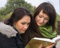 Buch mit zwei Kursteilnehmern Lese Stockfotografie