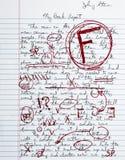 Buch-Report-Ausdruck-Papier-Schule-Versuch-ausfallen Grad Stockfoto