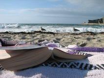 Buch am Strand mit Seemöwen Stockfotografie