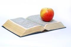 Buch u. Apfel Lizenzfreie Stockfotos