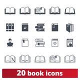 Buch-und Bibliotheks-Ikonen-Vektor-Satz stock abbildung