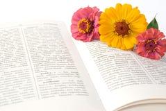 Buch und Blumen Stockfoto