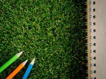 Buch und bunter Bleistift auf grünem künstlichem Gras Stockfotos