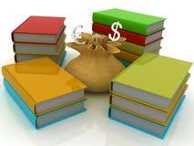 Buch und ein Beutel des Geldes Stockfotos