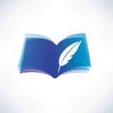 Buch- und Federsymbol Stockbild
