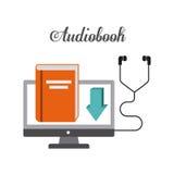 Buch- und Kopfhörerikone Audiobooks-Design Dekorativer Hintergrund als stilisiert Strudel der Wellen vektor abbildung