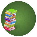 Buch- und Kreisikonenhintergrund Stockbilder