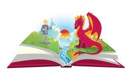 Buch von Märchen mit Ritter- und Dracheillustration Lizenzfreies Stockbild