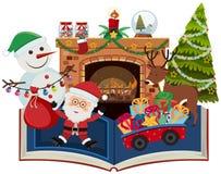 Buch von Weihnachten mit Sankt und Geschenk vektor abbildung