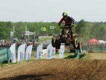 Quad bike riding motocross rally racing competition stock photo
