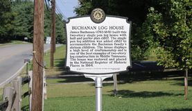 Buchanan-Blockhaus-Markierung, Nashville TN Stockbilder