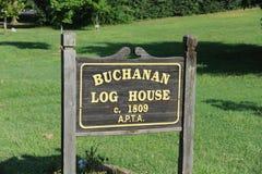 Buchanan-Blockhaus-Yard-Zeichen, Nashville TN Stockbild