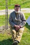 A Reenactor at the Confederate Encampment. Buchanan, VA - April 28th ; A portrait of a Confederate reenactor at encampment at the annual Buchanan Civil War Stock Photo