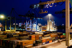 Buchardkai Container Terminal in Hamburg at night Stock Images