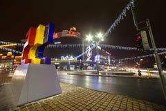 Bucharest śródmieście - Bożenarodzeniowy tematu oświetlenie obrazy royalty free
