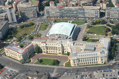 Bucharest. Romanian National Museum of art, viewed from a zeppelin. Before communism, until 1946, it was the Royal Family Palace, King Michael I of Romania was royalty free stock photos