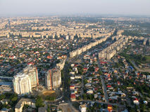 Bucharest from above. Aerial view of bucharest cityscape with lots of old buildings stock photography