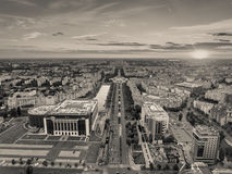 Bucharest from above black and white version Royalty Free Stock Photo