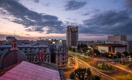 Bucharest Aerial View Sunset Royalty Free Stock Photos