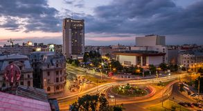 Bucharest Aerial View Sunset Royalty Free Stock Photography