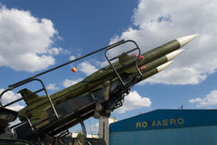 Bucharest Air Show: surface-to-air missiles. Medium-range surface-to-air missiles pointing at the sky, belonging to the Romanian Air Forces, in display at the Royalty Free Stock Photos