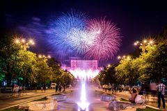 Bucharest anniversary days, fireworks party and celebration. Day , night time, water fountain , parliament palace , old center of Bucharest Royalty Free Stock Photography