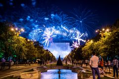 Bucharest anniversary days, fireworks party and celebration royalty free stock photography