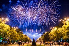 Bucharest anniversary days, fireworks party and celebration stock photos