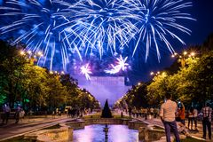 Bucharest anniversary days, fireworks party and celebration royalty free stock photos