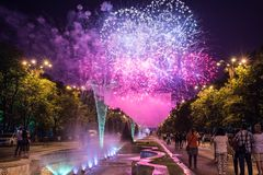 Bucharest anniversary days, fireworks party and celebration stock photo