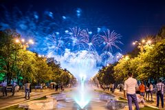 Bucharest anniversary days, fireworks party and celebration royalty free stock photo