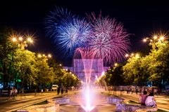 Bucharest anniversary days, fireworks party and celebration Stock Images