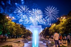 Bucharest anniversary days, fireworks party and celebration. Day , night time, water fountain , parliament palace , old center of Bucharest Stock Image