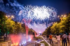 Bucharest anniversary days, fireworks party and celebration. Day , night time, water fountain , parliament palace , old center of Bucharest Stock Photo