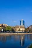 Bucharest architecture and Dambovita river Royalty Free Stock Photo