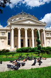 Bucharest - The Atheneum. Beautiful summer day in Bucharest. The Romanian Atheneum is a concert hall in the center of Bucharest, and a landmark of the Romanian Royalty Free Stock Photos