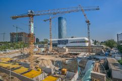 Bucharest, August, 19, 2014 -  construction site near Skytower B Royalty Free Stock Images