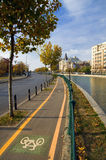 Bucharest - Bicycle lane. A bicycle lane along the Dambovita River in downtown Bucharest during a beautiful sunny autumn day Royalty Free Stock Photography
