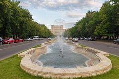 Bucharest Parliament. BUCHAREST, BULGARIA- JUNE 4, 2018: Bucharest Parliament with fountain in front of it. Romania royalty free stock image