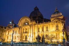 Bucharest, CEC pałac nocy scena Obraz Royalty Free