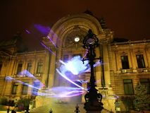 Bucharest, CEC Palace night scene at festival of lights stock video