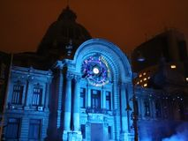 Bucharest, CEC Palace night scene at festival of lights stock footage
