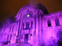 Bucharest, CEC Palace night scene at festival of lights stock video footage