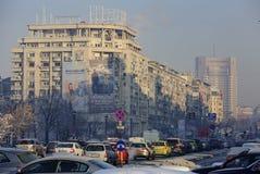Bucharest center in a frozen morning Stock Photos