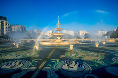 Bucharest central city fountain Royalty Free Stock Photos