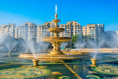 Bucharest central city fountain Royalty Free Stock Images