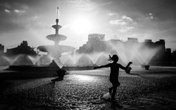 Bucharest central fountain in a hot summer day. Black and white shoot stock image