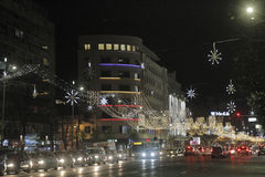 Bucharest Christmas Lights Stock Image