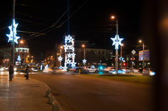 Bucharest christmas lights Stock Image