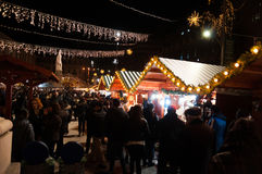 Bucharest Christmas Market Shoppers Royalty Free Stock Photography